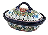 Polish Pottery Floral Butterfly Roaster with Lid
