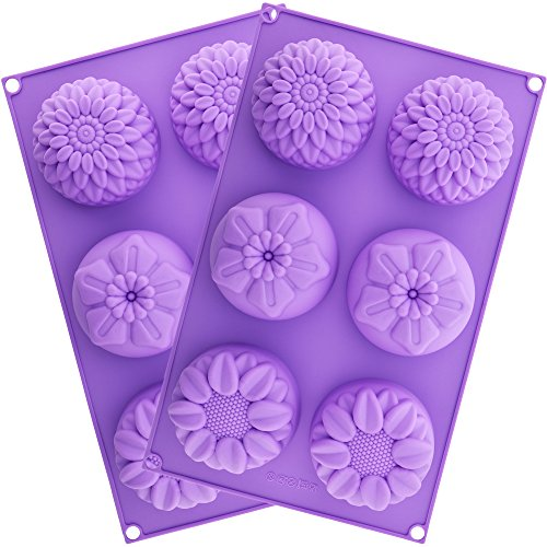 Silicone Flower Soap Mold 6 cavity (2 Molds) | Silicone soap molds | Chrysanthemum Sunflower Mixed Flower shapes | Cupcake Backing mold | Muffin pan | Candy mold | Handmade soap silicone Molds (Embed Candy)