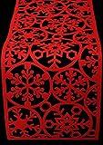 Camino de mesa de fieltro rojo de copo de nieve de Navidad Festive Party Cena de Navidad Comedor gamuza de Alfombrilla, 120cm x 30cm