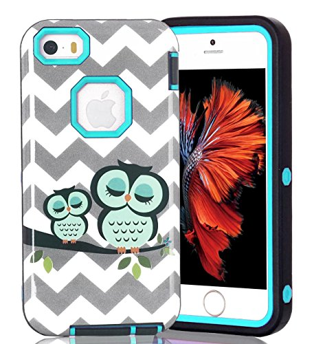 iPhone 5 Case,iPhone 5S Case,iPhone SE Case,Welity Shockproof 3 in 1 Hybrid High Impact Tough Rugged PC+TPU Back Full Body Protector Case Cover Armor Combo Defender Case for kids,boys,girls(Green)