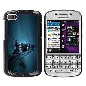 LECELL -- Funda protectora / Cubierta / Piel For BlackBerry Q10 -- akula shark ryba fish --