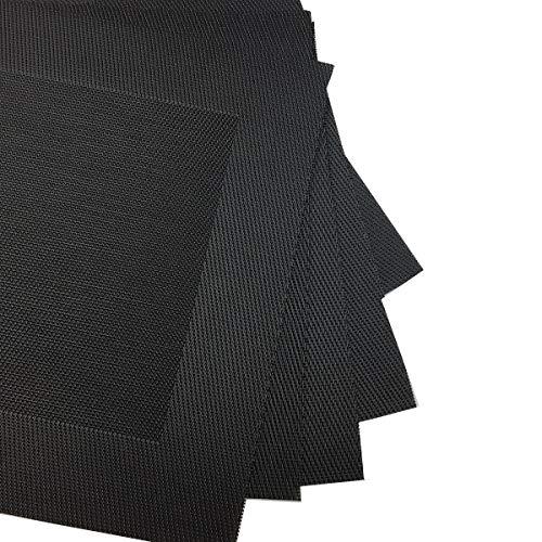 Borlan Vinyl Grey Placemats Heat Resistant Dining Table Mats Non-slip Washable Place Mats Set of 6 Grey