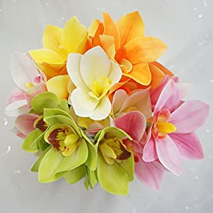 Lily Garden 4 Stems Real Touch Artificial Cymbidium Orchid Bundle Flower 2