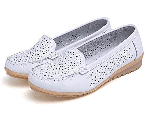 Femme Chaussure Casual Mocassin match Blanc Ballet Creux Confort Plat Minetom de Escarpins Chaussures Tout Plat Bateau Chaussures qAUwdq5
