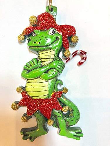HRU Alligator Jester Bayou Santa Claus Candy Cane Christmas Tree Holiday Ornament Louisiana Cajun Creole Party Mardi Gras Croc Crocodile Free Gold Gift Box ()