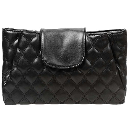 BMC Womens Midnight Black PU Faux Leather Quilted Pattern Double Compartment Fashion (Quilted Clutch Purse)