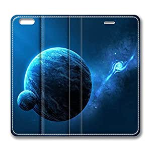 iPhone 6 Plus Case, Fashion Protective PU Leather Flip Case [Stand Feature] Cover Blue Planet for New Apple iPhone 6(5.5 inch) Plus