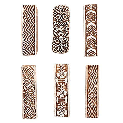 IndianShelf Handmade 6 Piece Wooden Printing Blocks Textile Crafts Canvas Paper Hand Carved Saree Border Making Pottery Cloth Stamps WB-2030