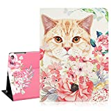 Floral iPad Case 9.7inch for Kids, Cute Cat with Pink Flowers Lightweight Protective Smart iPad Case, PU Taiga Leather Trifold Stand with Auto Sleep Wake Function Hard Back Cover for The iPad Air 1/2