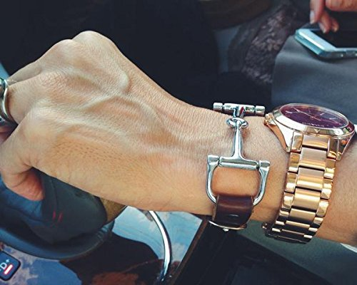 Snaffle Leather Bracelet - Brown Leather and Silver Snaffle by Ideana