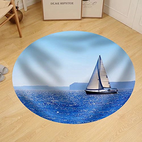 Gzhihine Custom round floor mat Blue Mediterranean Sailboat Sailing in Perfect Ocean at San Antonio - San Stores Antonio Outlets