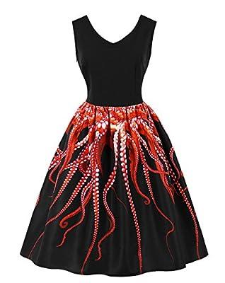 Wellwits Women's 3D Digital Octopus Print Sleeveless Vintage Rockabilly Dress
