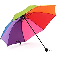 Rib Rainbow Umbrella Portable Tri-Folded Umbrella Collapsible, Compact and Durable, Lightweight and Cute Travel Umbrella