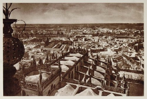 1928 Panoramic View Panorama Seville Spain Photogravure - Original Photogravure from PeriodPaper LLC-Collectible Original Print Archive