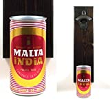 Wall Mounted Bottle Opener With A Vintage Malta India Puerto Rico Beer Can Cap Catcher