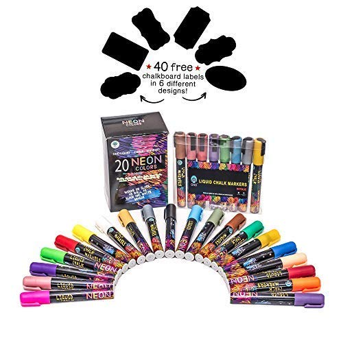 Ono Liquid Chalk Markers (28 Pcs) Reversible Tip Neon (20 Pcs) + Metallic (8 Pcs) Colors for Chalkboards, Whiteboards, Window Panes and Glass Surfaces, Erasable Water-Based Non-Toxic Liquid Pens.