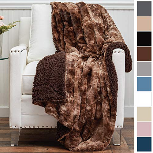 The Connecticut Home Company Original Luxury Faux Fur Throw Blanket, Super Soft, Large Plush Reversible Blankets, Warm & Hypoallergenic Washable Couch/Bed Throws, Microfiber 65