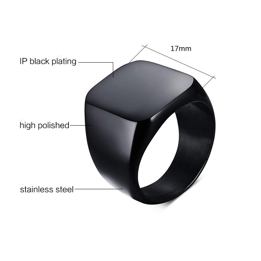 779fb0b3caba3 Wellpoint Solid Polished Stainless Steel Square Black Rings for Biker Men &  Boys (Amazon Exclusive)