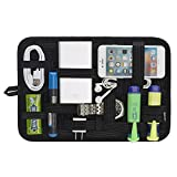 Electronics Organizer, JOTO Travel Gear Management Organize Bag for Electronics Accessories Tools Hard Drive Memory Card Flash Drive Cables Charger Cosmetics Brush Personal Care Kit - Large (Black)