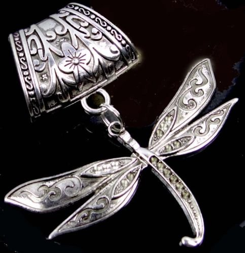 1 Pc of Scarf Pendant Silver Pewter Dragonfly Flight Slide