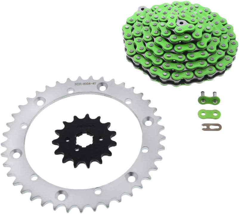 Green Non O-Ring Chain /& Silver Sprocket 15//41 104L 89-06 fits Yamaha YFZ 350 Banshee