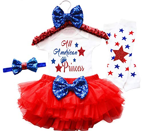 Fommy 4th of July Baby Girls Outfit 4PCs Romper+Tutu Dresses +Headband +Leggings 3-6 Months Red]()