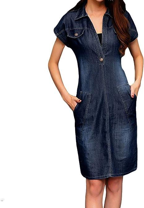 Cooljun - Vestido vaquero para mujer, estilo retro, de manga corta, con botón extra-large C1