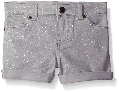 Klein Shimmer Calvin (Calvin Klein Toddler Girls' Shimmer Roll-up Denim Short, Silver, 4T)