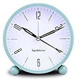 OKSANO 4.5 inch Round Silent Sweep Alarm Table Clock Non Ticking, Gentle Wake, Beep Sounds, Increasing Volume, Battery Operated Snooze and Light Functions, Easy to set, Ideal Gift for Kids