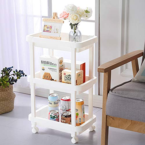 Aogist 3-Tier Slide Out Storage Cart Rolling Utility Cart Storage Shelf Rack for Kitchen Living Room Bathroom Laundry Room & Dressers (Cart White Metal Rolling)