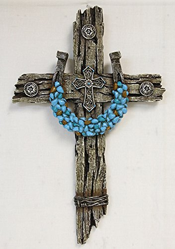 Rustic look western wall cross with turquoise horseshoe and barbed wire