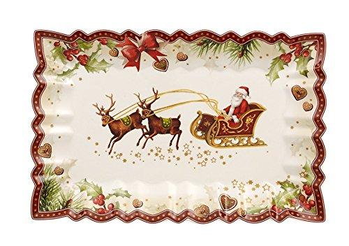 Villeroy Boch Toy's Fantasy & Cake Platter Rectangular Sledge, Porcelain, Red, 35 x 22.5 x 3.5 cm (Rectangular Cake Platter Red)