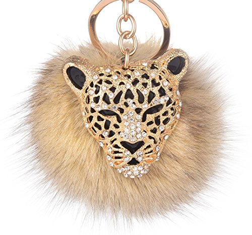 Leopard with Natural Fox Fur Pom Pom Keychain for Women Giftale Ball Bag Charm