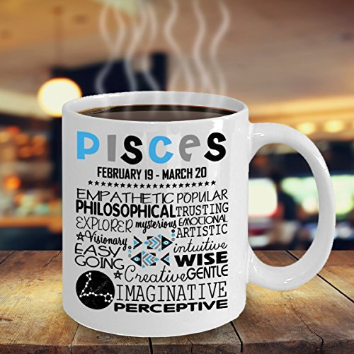 Pisces Woman Mug-11 Oz Ceramic Coffee Tea Glass Cup Horoscope Zodiac Birth Sign Pisces-Best Gift Ideas for February, March Birthdays-Ceramic Mug, White-Funny Gift For Wife, Girlfriend and Mother
