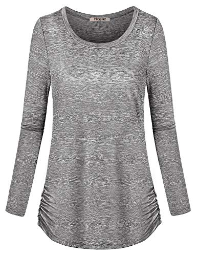 t Tops, Long Sleeve Space Dye Working Out Dressy Shirts Round Neck Comfortable Yoga Sweatshirt Autumn Aline Side Shirring Fitness Running Exercise Outfits Gray XL ()