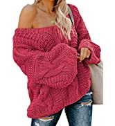 ROSKIKI Women's Casual Oversized Loose Long Sleeve Pullover Tops Bubblegum V-Neck Braided Knit Sw...