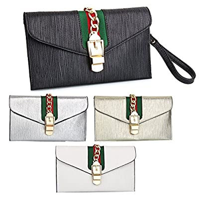 SSMY Designer Evening Envelope Clutch Bags Wristlet Purse Cross Body Bag with Chain