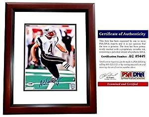 Adam Vinatieri Autographed New England Patriots 8x10 Photo Mahogany Custom Frame - PSA/DNA Authentic