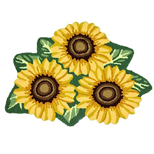 USTIDE Sunflower Rug for Kitchen Handmade Rug Yellow Flower Floor Mat Modern Rustic Carpet Washable Non-Slip Bathroom Mat for Bedroom/Foyer 3x2