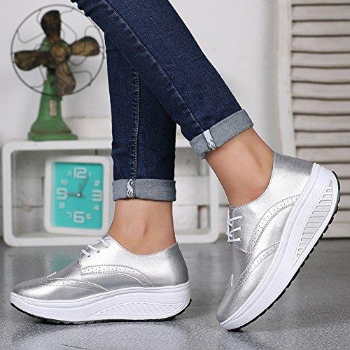 Resistente Al Desgaste Y Transpirable Superficie de Cuero Que Sacude Los Zapatos Zapatos Femeninos de la Parte Inferior Gruesa Zapatos Transpirables Zapatos Casuales , plata , EUR35