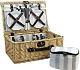 HappyPicnic Picnic Basket Set for 4 Persons | Wicker Hamper with Cutlery Service Set and Free Insulated Lunch Bag| Willow Basket Supplies Kit for Outdoor Party