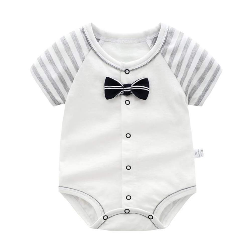 BBKidss Baby Boys Clothes Stripes Romper Bodysuit with Bow Tie 3 PCs Short Sleeves Summer Jumpsuit Outfits