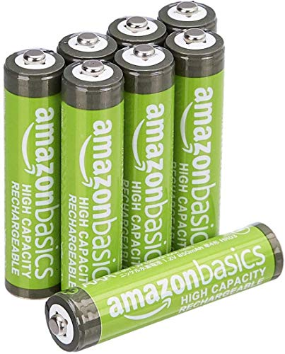 AmazonBasics AAA High-Capacity Rechargeable Batteries, Pre-charged, 8-Pack