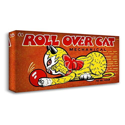 Roll Over Cat 40x22 Gallery Wrapped Stretched Canvas Art by Retrobot