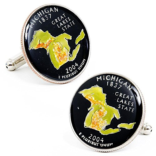 Hand Painted Michigan State Quarter Cufflinks Novelty 1 x 1in