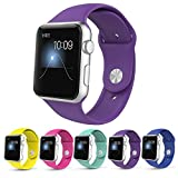 Apple Watch Band,Teslasz Soft Silicone Replacement Sport Wristbands Straps for Apple Watch (Dark Purple 42 MM)