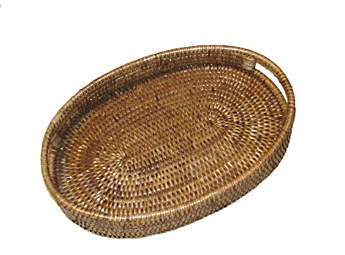 Artifacts Trading Company Rattan Large Oval Tray with Cutout Handles, 23
