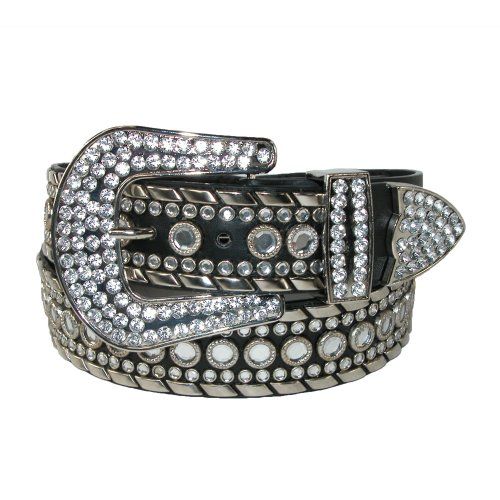 Western Rhinestone Black Belt (Lots of Rhinestones - Western Belt for Women Eliebelts,XL up to)