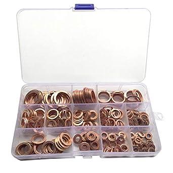 200 Juegos de arandelas de cobre 9 Tama/ños de arandelas de cobre m/étricas Arandelas planas para equipos dom/ésticos y comerciales con caja de pl/ástico