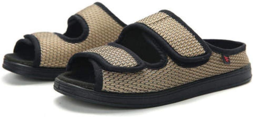 TDYSDYN Zapatos para DiabéTicos Zapatillas,Pantuflas de Malla Transpirable para Primavera y Verano, Suela de Goma Ajustable Zapatos de Tela Suelta-Khaki_35